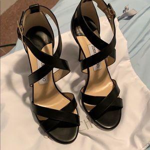 Jimmy choo Lottie black leather heels NWT